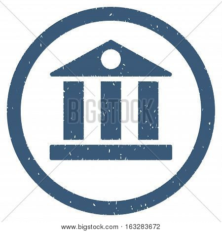 Bank Building rubber seal stamp watermark. Icon vector symbol with grunge design and corrosion texture. Scratched blue ink sign on a white background.