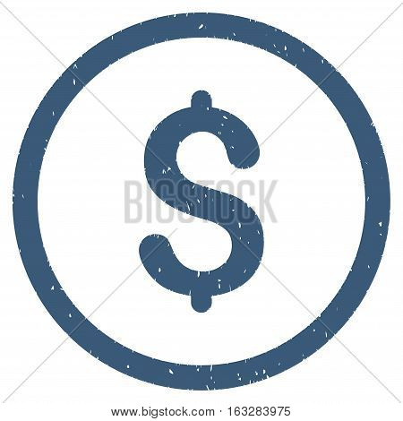 Dollar rubber seal stamp watermark. Icon vector symbol with grunge design and corrosion texture. Scratched blue ink emblem on a white background.