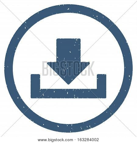 Download rubber seal stamp watermark. Icon vector symbol with grunge design and corrosion texture. Scratched blue ink emblem on a white background.
