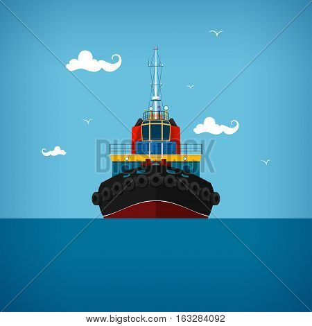 Tugboat, a front view of the push boats, tow boat for to wage and mooring of other courts