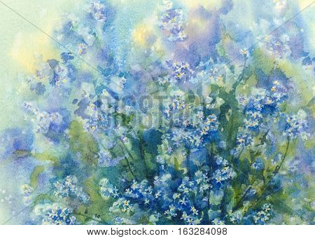 Beautiful bouquet of blossoming Blue Forget-me-not flowers in a vase of glass. Summer flowers background. Birthday card