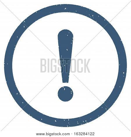 Exclamation Sign rubber seal stamp watermark. Icon vector symbol with grunge design and dust texture. Scratched blue ink sign on a white background.