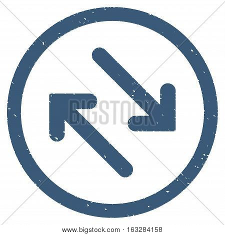 Flip Diagonally rubber seal stamp watermark. Icon vector symbol with grunge design and unclean texture. Scratched blue ink sticker on a white background.