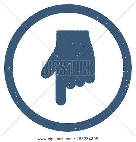 Index Finger Down Direction rubber seal stamp watermark. Icon vector symbol with grunge design and corrosion texture. Scratched blue ink sticker on a white background.
