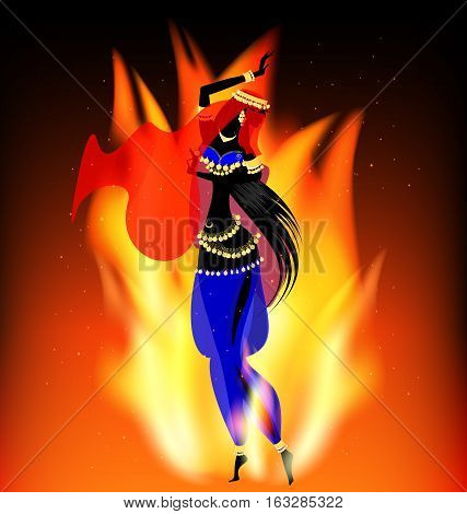 dark background with flame and abstract dancing oriental girl in red-blue