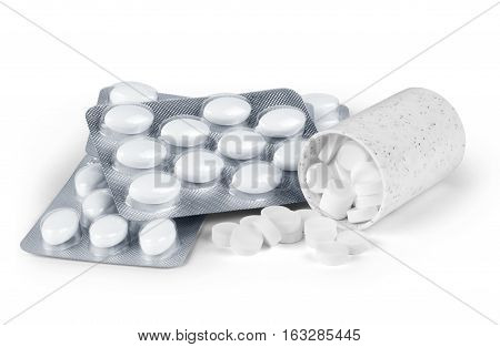 Prescription pill bottle spilling pills on to surface isolated on a white background.