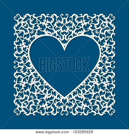 Laser cut card with swirls. Laser cutting template for diy greeting cards envelopes wedding invitations decorative elements. Photo frame for paper cutting