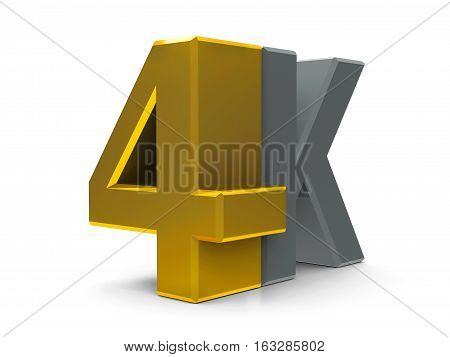 Gold and gray 4K Ultra HD text symbol icon or button isolated on white background three-dimensional rendering 3D illustration