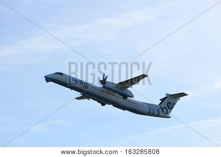 Amsterdam the Netherlands - November 25th 2016: G-ECOB Flybe De Havilland Canada DHC-8 taking off from Polderbaan Runway at Amsterdam Airport Schiphol