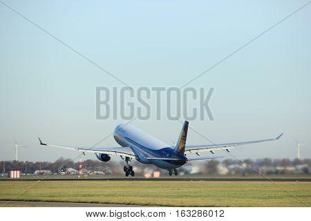 Amsterdam the Netherlands - November 25th 2016: VT-JWS Jet Airways Airbus A330 taking off from Polderbaan Runway at Amsterdam Airport Schiphol