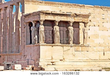 Porch of the Caryatids in Erechtheum, Athens poster