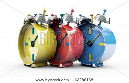 Time passing concept - a lot of alarm clock 3d render