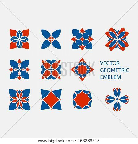 Vector set of geometric shapes. Round red and blue mosaic ornaments and symbols for logos or decorations