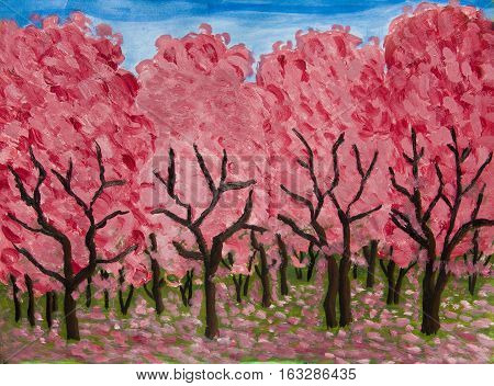 Spring garden in blossom in crimson colours, oil painting on acryl background.