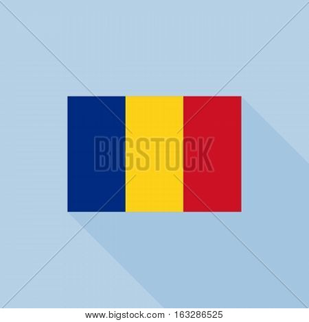 Romania flag , flat design vector with official proportion