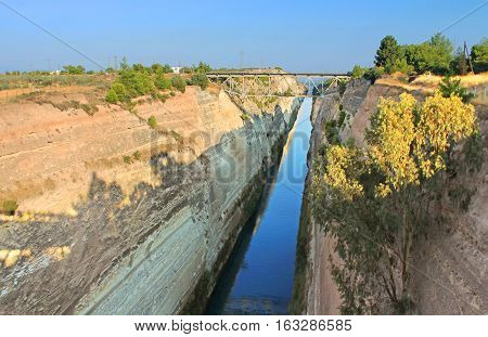 The Corinth Canal in Greece. It is a canal that connects the Gulf of Corinth with the Saronic Gulf in the Aegean Sea