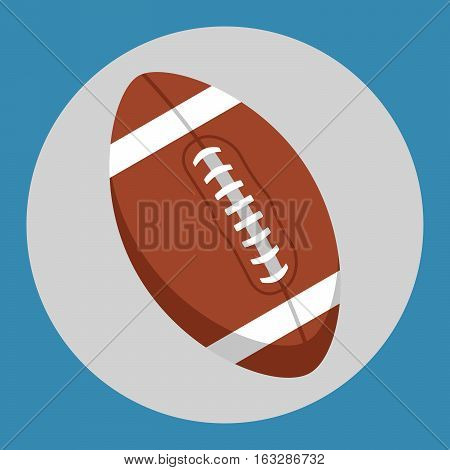 Rugby ball icon. Brown rugby ball on a blue background. Sports Equipment. Vector Illustration