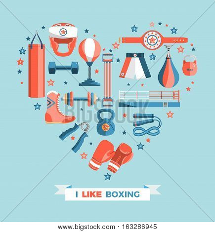 Set of boxing equipment vector colorful design elements isolated on blue background. Vector Illustration.