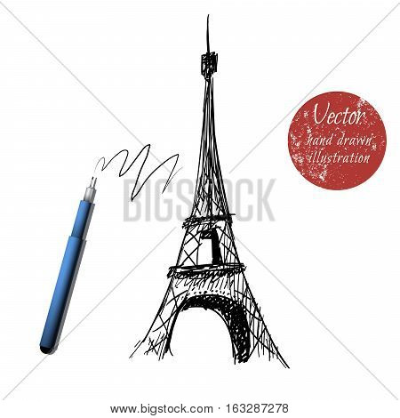 eiffel tower isolated on white background.Hand drawn style.Stock vector