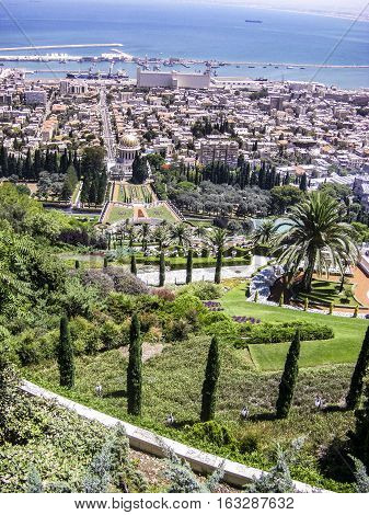 Bahai Gardens And Temple On The Slopes Of The Carmel Mountain