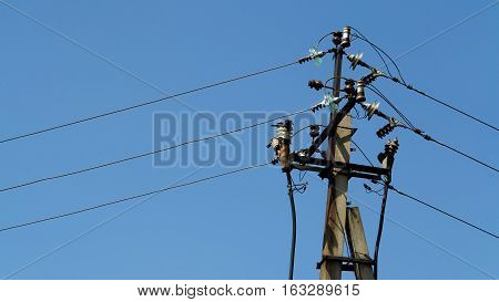 communication concrete pole of power on a blue background