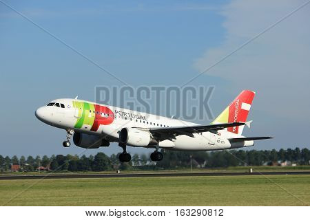 Amsterdam the Netherlands - August 18th 2016: CS-TTI TAP - Air Portugal Airbus A319 taking off from Polderbaan Runway Amsterdam Airport Schiphol
