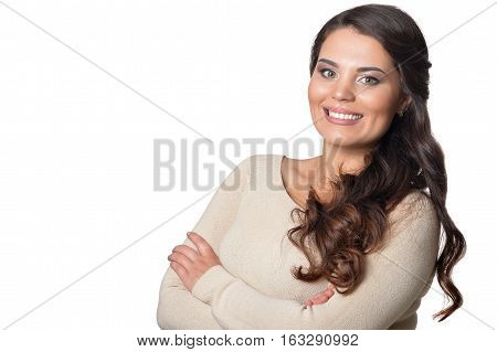 beautiful young woman, close up portrait against white