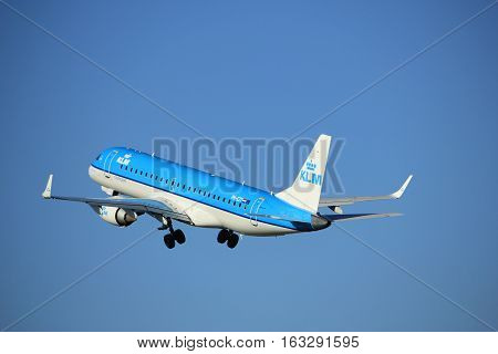 Amsterdam the Netherlands - August 18th 2016: PH-EZT KLM Cityhopper Embraer ERJ-190STD taking off from Polderbaan Runway Amsterdam Airport Schiphol