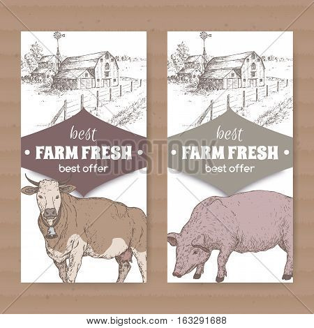 Set of two white farm shop labels with farmhouse, barn, cow and pig. Placed on cardboard texture. Includes hand drawn elements.