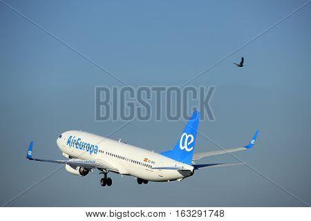 Amsterdam the Netherlands - August 18th 2016: EC-MJU Air Europa Boeing 737-85P taking off from Polderbaan Runway Amsterdam Airport Schiphol