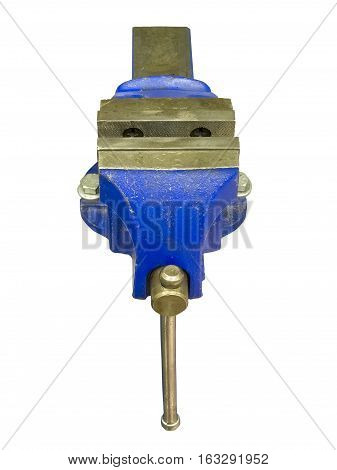 Blue table vise isolated on white background