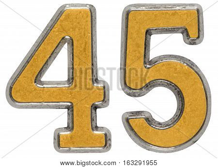 Metal Numeral 45, Forty-five, Isolated On White Background