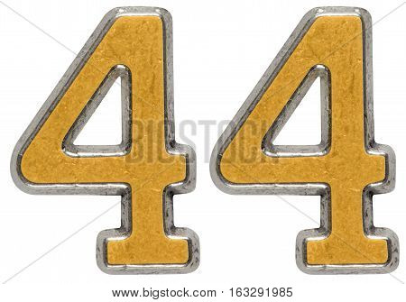 Metal Numeral 44, Forty-four, Isolated On White Background