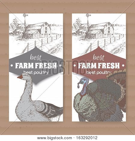 Set of two white poultry labels with farmhouse, barn, goose and turkey. Placed on cardboard texture. Includes hand drawn elements.