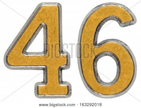 Metal Numeral 46, Forty-six, Isolated On White Background