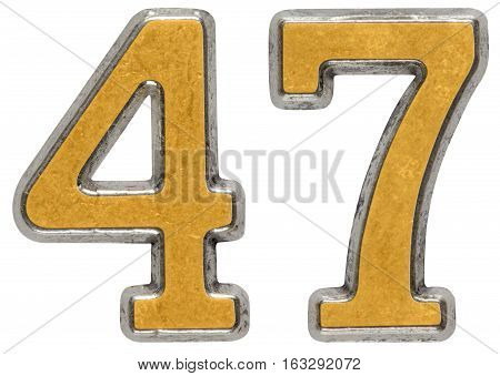 Metal Numeral 47, Forty-seven, Isolated On White Background