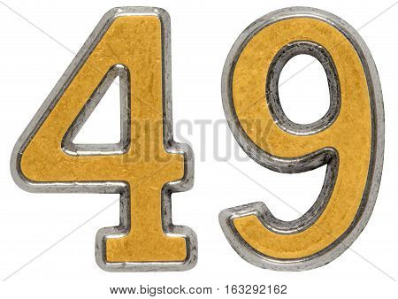 Metal Numeral 49, Forty-nine, Isolated On White Background