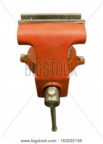 Red table vise isolated on white background