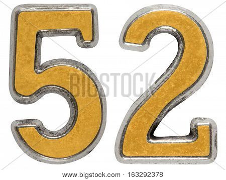 Metal Numeral 52, Fifty-two, Isolated On White Background