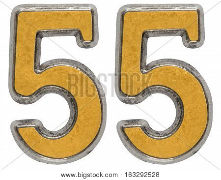 Metal Numeral 55, Fifty-five, Isolated On White Background