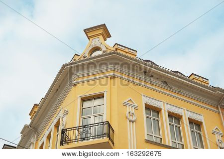 architectural historic building with window and balcony.