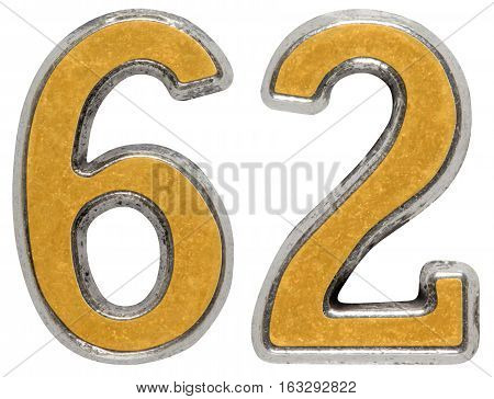 Metal Numeral 62, Sixty-two, Isolated On White Background