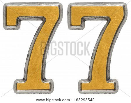 Metal numeral 77 seventy-sevendigit; isolated on white background