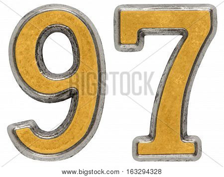 Metal numeral 97 ninety-seven isolated on white background