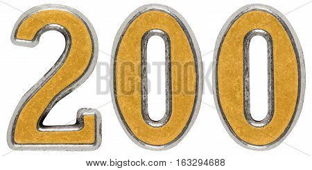 Metal numeral 200 two hundred isolated on white background