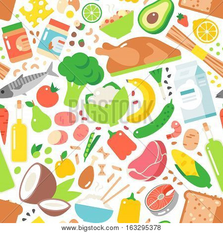 Vegetable seamless pattern garden background. Carrot bell pepper avocado olives pepper zucchini and broccoli tomato vegetarian harvest. Healthy lunch beverage decorative foods elements.