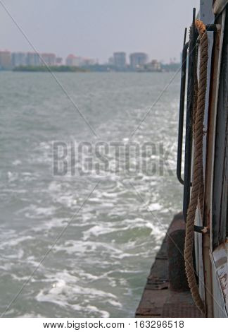 harbour of Kochi port from the side of a ship India