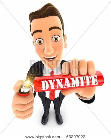 3d businessman lighting a stick of dynamite illustration with isolated white background