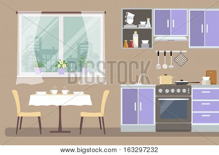 Kitchen interior. There is a violet furniture, a stove, a table with chairs, a window and other objects in the picture. Vector flat illustration