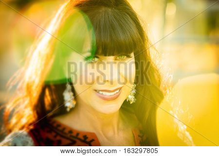Close Up On Joyful Smiling Woman